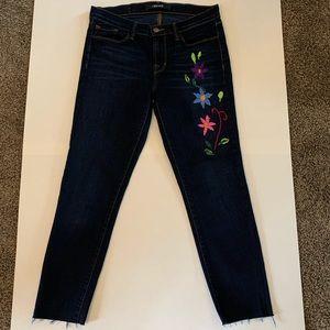 J Brand Skinny Indigo Blue Raw Hem Floral Jeans